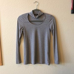 DREW Grey long sleeve choker neckline top Size XS